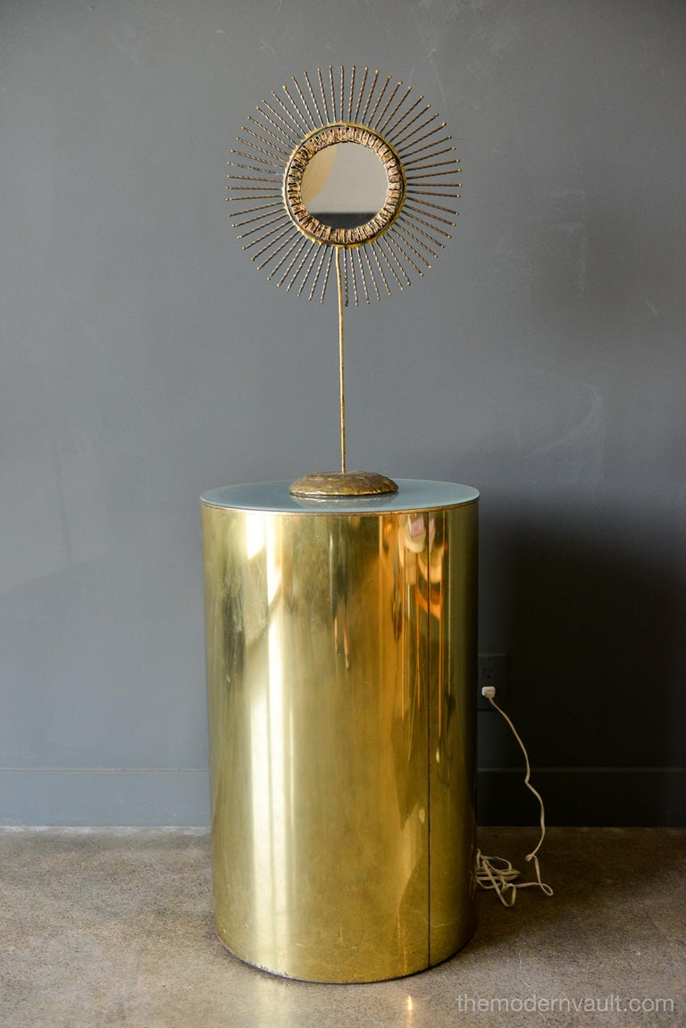 Illuminated brass pedestal stand by Curtis Jere for Artisan House, circa 1980. Original frosted glass and wiring, signed on base. Unrestored original condition with some patina to base and wear as shown.  Measures 29