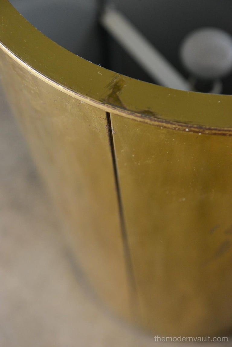 Glass Illuminated Brass Pedestal Stand by Curtis Jere for Artisan House, circa 1980 For Sale