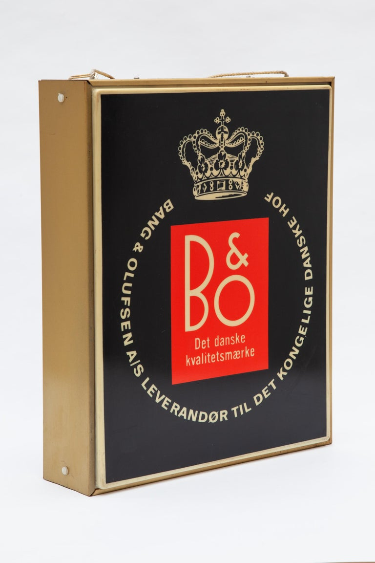 Vintage illuminated advertising for Denmark design duo Bang & Olufsen, 1960s Beautiful original B & O light advertising double sided in good and working condition and gives a nice bright atmospheric lighting and is wired with a wall plug.