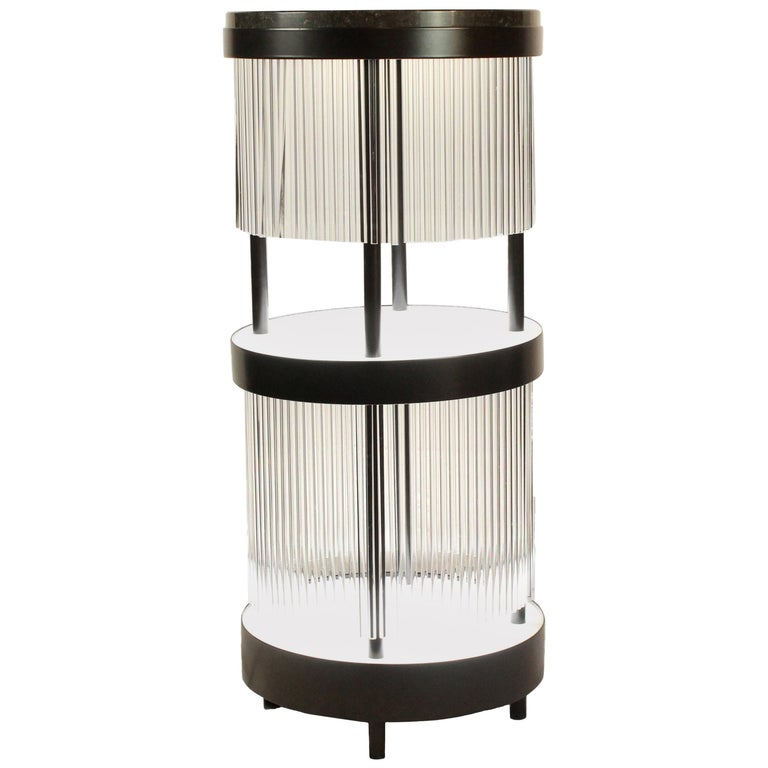 Illuminated Dry Bar Side Table in Steel and Quartz Between Modern and Art Deco For Sale