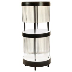 Illuminated Dry Bar Side Table in Steel and Quartz Customizable