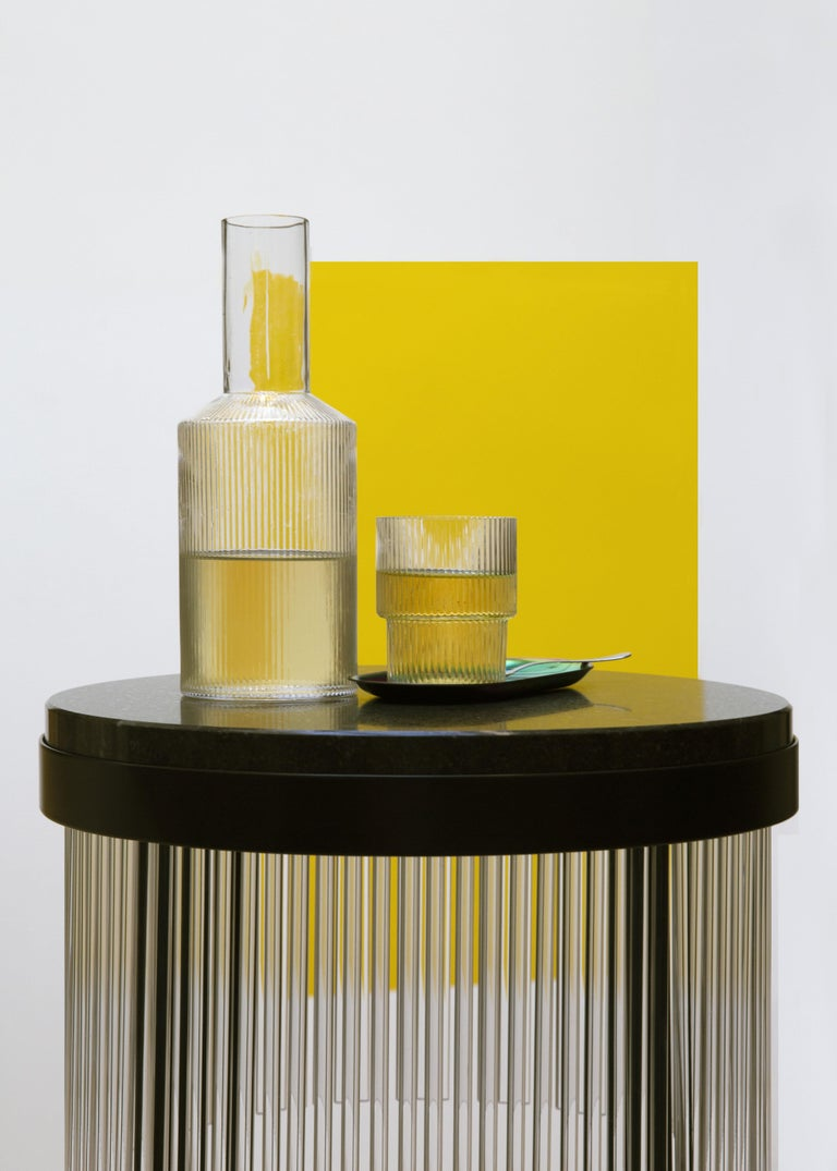 Illuminated Dry Bar Side Table in Steel and Quartz Between Modern and Art Deco In New Condition For Sale In MONTROZIER, FR