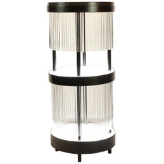 Illuminated Dry Bar Side Table in Steel and Quartz between modern and art deco