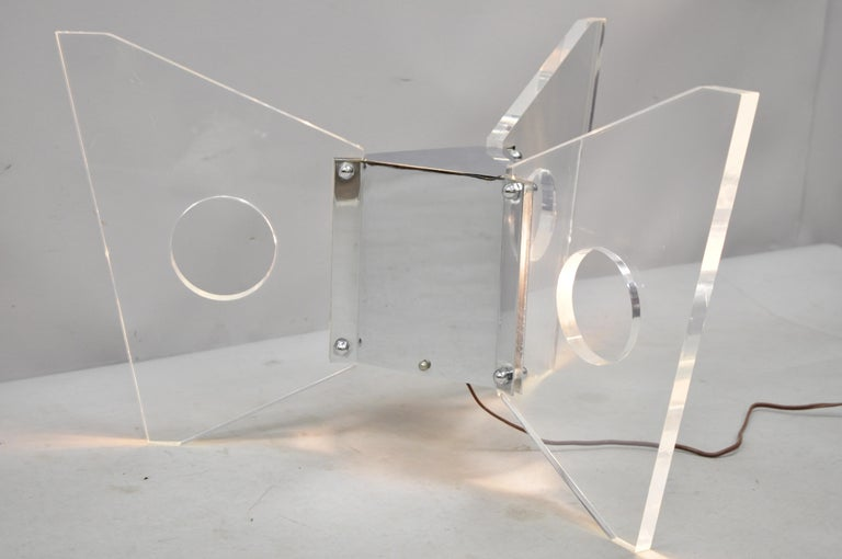 20th Century Illuminated Lucite and Chrome Lighted Butterfly Base Coffee Table For Sale
