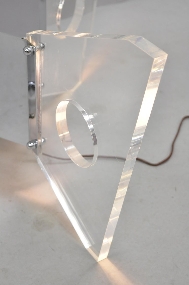 Illuminated Lucite and Chrome Lighted Butterfly Base Coffee Table For Sale 1