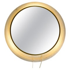 Illuminated Mid-Century Modern Round Wall Mirror with White Expanded Metal Frame
