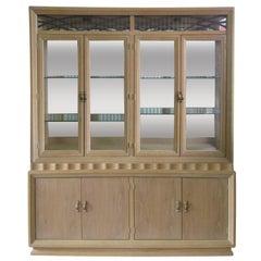 Illuminated Mid-Century Modern White Washed Two-Piece China Cabinet