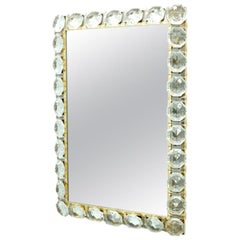 Illuminated Mirror in Brass and Crystal Glass by Palwa, 1960s
