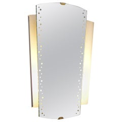 Illuminated Mirror with Brass Detail by Ernst Igl for Hillebrand, Germany, 1960s