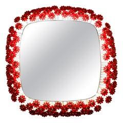 Illuminated Mirror with Red Acrylic Flowers Designed Emil Stejnar Vienna 1950