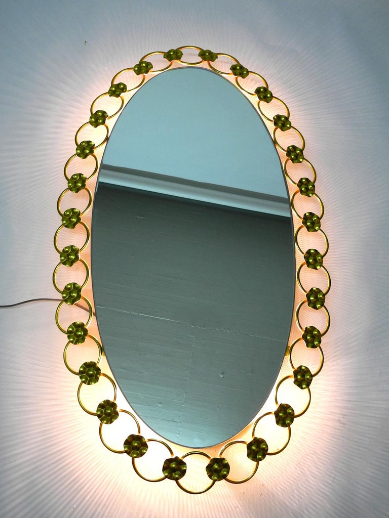 Mid-Century Modern Illuminated Oval 1960s Large Wall Mirror with a Brass Frame For Sale