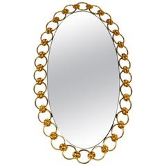 Illuminated Oval 1960s Large Wall Mirror with a Brass Frame