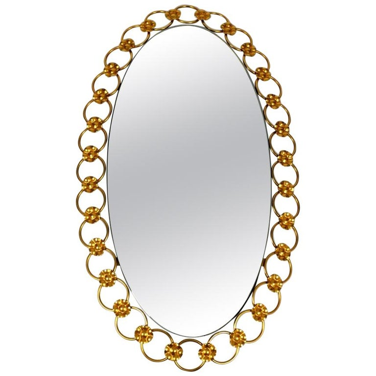 Illuminated Oval 1960s Large Wall Mirror with a Brass Frame For Sale