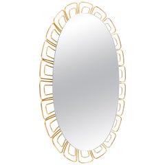 1950 Germany Hillebrand Oval Backlit Mirror Glass & Brass
