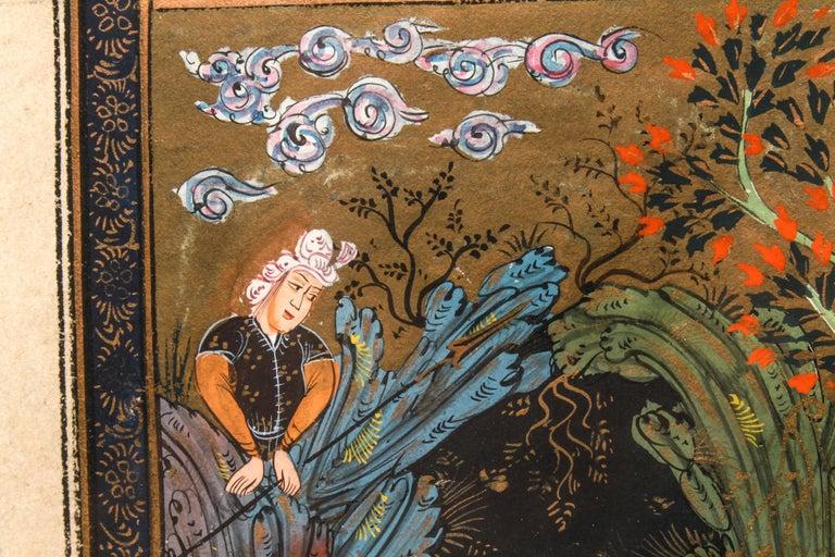 19th Century Illuminated Persian Manuscript Miniature with Shahnameh Scene For Sale