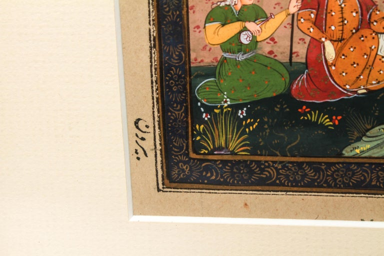 Paper Illuminated Persian Manuscript Miniature with Shahnameh Scene For Sale