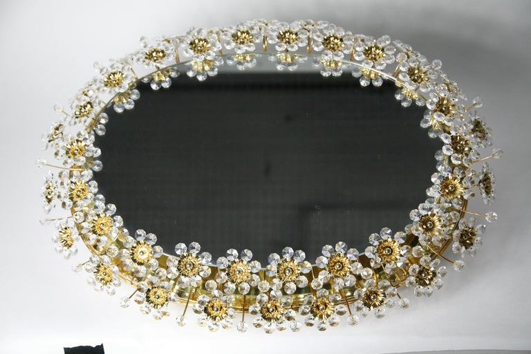 Mid 20th century Illuminated Swarovski Crystal, Palwa Mirror, Germany, 1970s For Sale 7