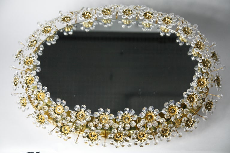 Mid 20th century Illuminated Swarovski Crystal, Palwa Mirror, Germany, 1970s For Sale 8