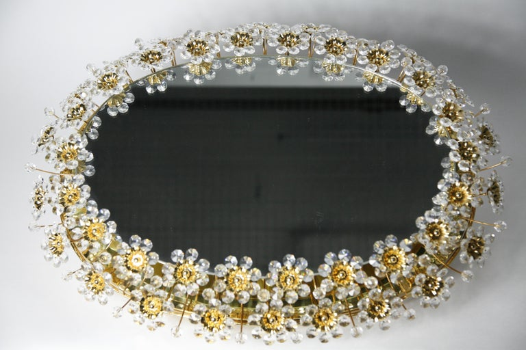 Mid 20th century Illuminated Swarovski Crystal, Palwa Mirror, Germany, 1970s For Sale 9