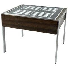Illuminated Wood and Glass Backgammon Side Table