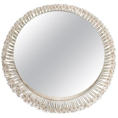 Illuminating Mirror, 1950-1960 Design in Painted Metal and Glass Flowers