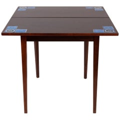 Illums Bolighus Rosewood and Blue Tile Folding Table