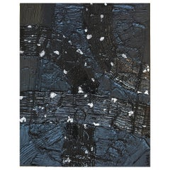 Illusion 12 by Liora Textured Black Silver Abstract Canvas Contemporary Painting