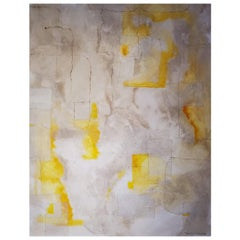 Illusion, Abstract Mixed-Media on Canvas Painting, 2017, Yellow, Gray, White