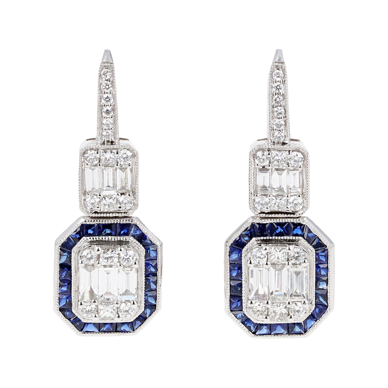 Illusion Diamond and Sapphire Drop Dangle Earrings