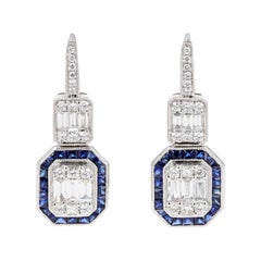 Illusion Diamond and Sapphire Drop Dangle Earrings