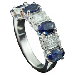 Illusion Diamond with Sapphires Half Eternity Ring in 18 Karat Gold