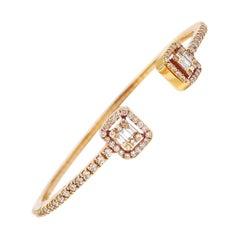 Illusion Emerald-Cut Diamond Halo Open Cuff Bangle Bracelet in 18 Karat Gold
