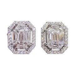Illusion Emerald shape 18k White Diamond Jacket Earring