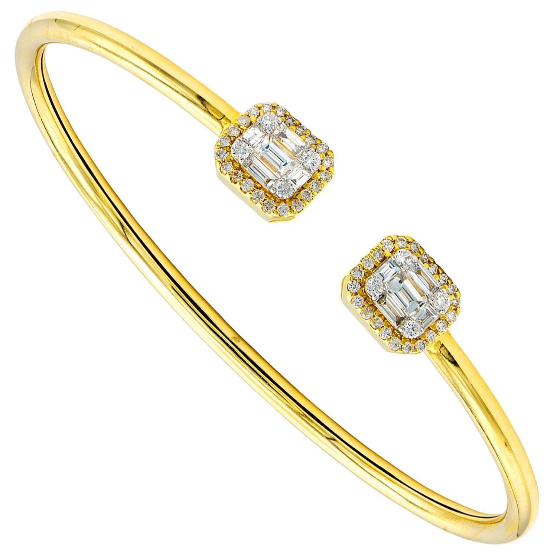 Illusion Emerald Diamond Bangle Bracelet