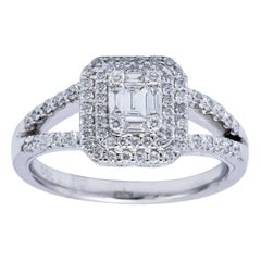 Illusion Emerald Diamond Cluster Ring with Double Halo and Split Shank
