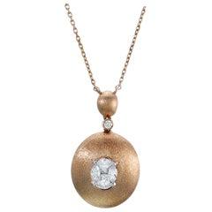 Illusion Oval Diamond Pendant Necklace 18 Karat Rose Gold