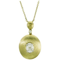 Illusion Oval Diamond Pendant Necklace 18 Karat Yellow Gold