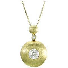 Illusion Round Diamond Pendant Necklace 18 Karat Yellow Gold