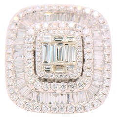 Illusion Set 4.75 Carat White Baguette Diamond Ring and Pendant 18 Karat
