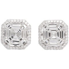 Illusion Set Asscher Cut Diamond Stud Halo Earrings