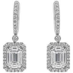 Illusion Set of Cluster Diamond Halo Dangle Earrings