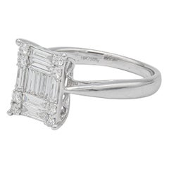 Illusion Set Diamond Ring Made with 18 Diamonds .85 Carat Total Weight