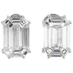 Illusion Set Diamond Stud Earrings 11.4 Carat