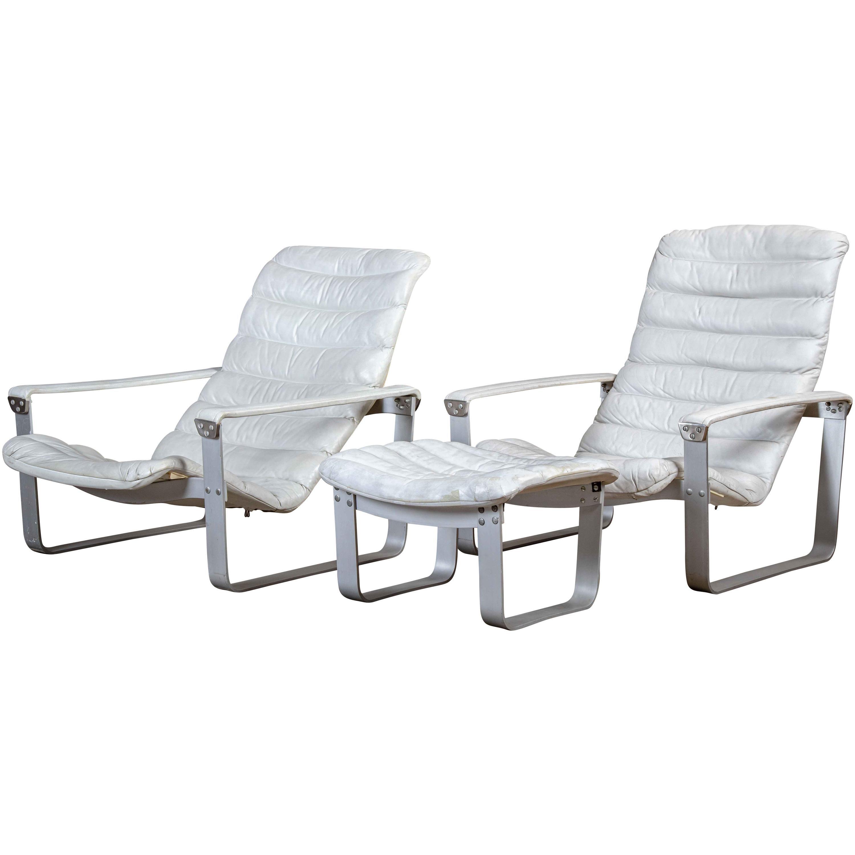 Ilmari Lappalainen Pulkka Chairs and Ottoman