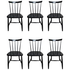 Ilmari Tapiovaara, 6 White Lacquered Chairs, Haga Fors Production, Finland, 1950
