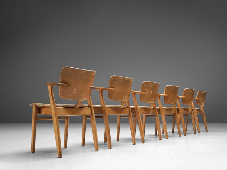 Finnish Ilmari Tapiovaara Armchairs 'Domus' in Beech and Patinated Leather For Sale