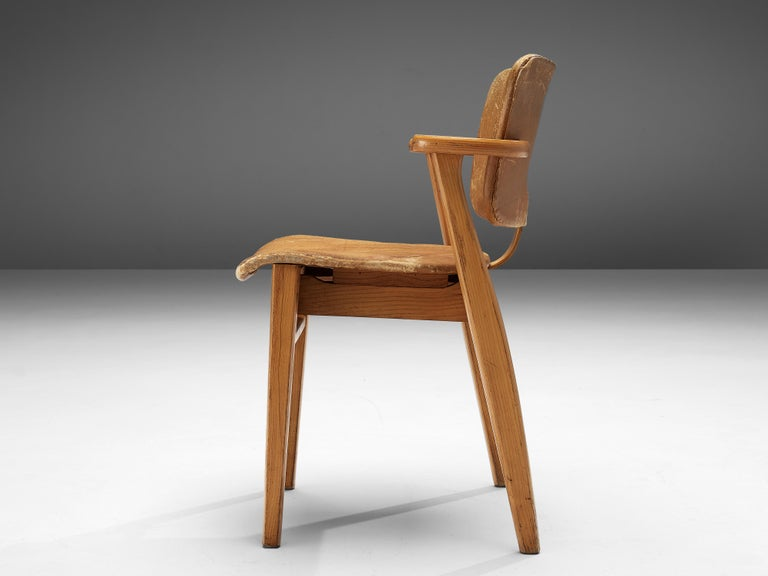 Mid-20th Century Ilmari Tapiovaara Armchairs 'Domus' in Beech and Patinated Leather For Sale