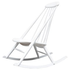 Ilmari Tapiovaara Attr White Lacquered Rocking Chair