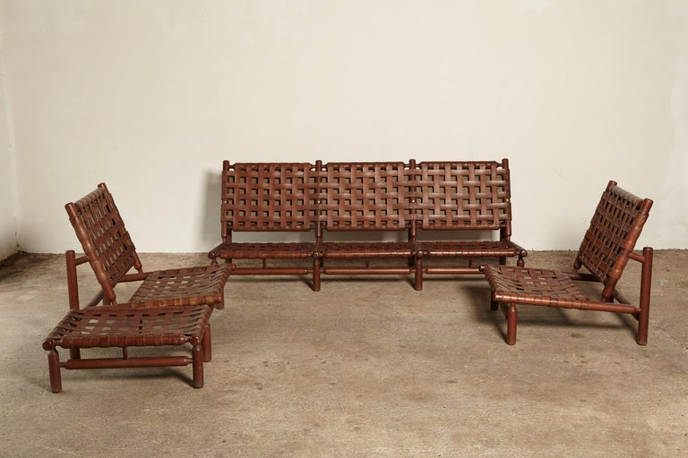 Ilmari Tapiovaara Chairs and Ottoman, Finland or Italy, 1950s For Sale 5