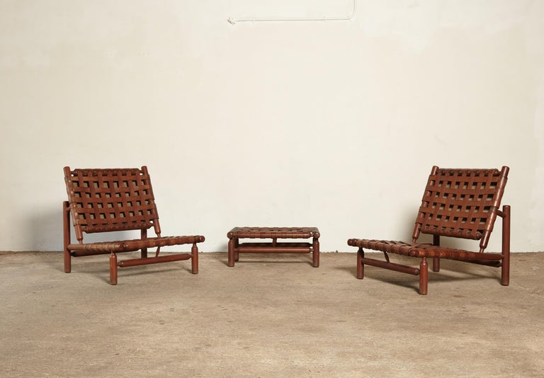 Ilmari Tapiovaara Chairs and Ottoman, Finland or Italy, 1950s For Sale 6